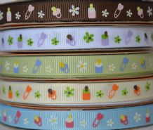 10mm BABY'S MILK BOTTLE, PIN, PACIFIER and FLOWERS GROSGRAIN RIBBONS